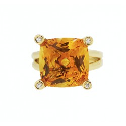 Bague citrine et diamants